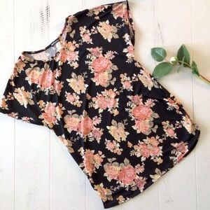 Tops - Black Floral Silky T-shirt